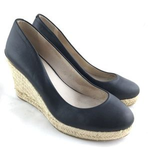 Wedge heels espadrilles closed toe black leather 7